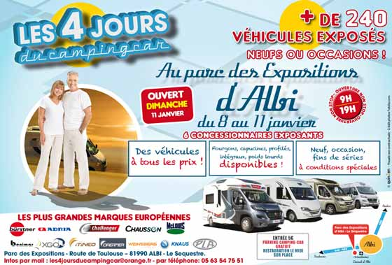 salon du camping car parc des expositions albi le s questre jeudi 8 janvier au dimanche. Black Bedroom Furniture Sets. Home Design Ideas
